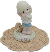 """Precious Moments """"Growing In Grace"""" Girl/Female collectible figurines with Westbraid Doily (Age 12, Blonde Hair)"""