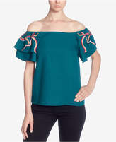 Catherine Malandrino Embroidered Off-The-Shoulder Top