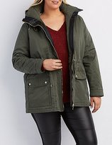 Charlotte Russe Plus Size Sherpa Lined Hooded Anorak Jacket