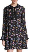 Free Generation Floral-Print Long-Sleeve Dress, Black