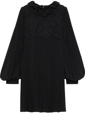 Philosophy di Lorenzo Serafini Layered Corded Lace And Pleated Chiffon Mini Dress