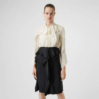 Burberry Ruffled Silk Chiffon Pussy-bow Blouse