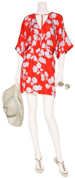 Diane von Furstenberg Halo Bud Red Iniko Beach Caftan