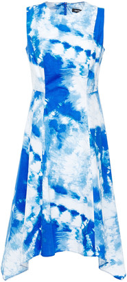 DKNY Asymmetric Tie-dyed Stretch-cotton Poplin Dress