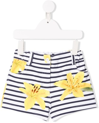 Lapin House Floral Print Striped Shorts