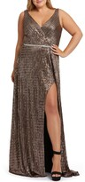 Mac Duggal Metallic Wrap Prom Dress