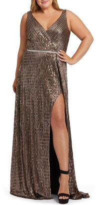 Mac Duggal Embellished Faux Wrap Gown