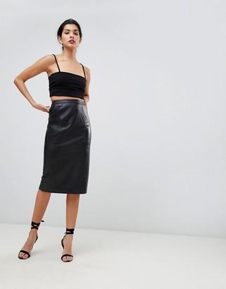 Asos Design DESIGN midi pencil skirt in leather-Black