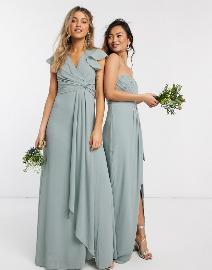 TFNC bridesmaid flutter sleeve ruffle detail maxi dress in sage