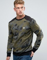 Le Breve Camo Print Crew Neck Sweat Sweater