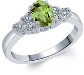 Gem Stone King 0.70 Ct Oval Green Peridot White Diamond 14K White Gold Ring