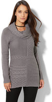 New York & Co. Mixed-Stitch Cowl-Neck Sweater