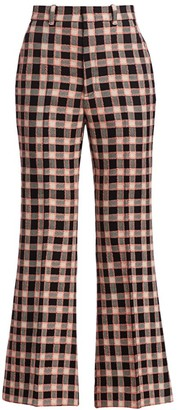 Gucci Fancy Tweed Damier Cropped Flare Trousers