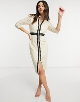 Thumbnail for your product : Little Mistress lace sleeve midi dress in cream