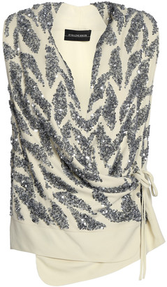 By Malene Birger Sequined Crepe Wrap Top