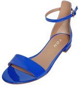 YDN Womens Chic Open Toe Block Flat Sandals Ankle Strap Low Heels Shoes with Buckle 15