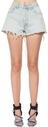 Off-White Cotton Denim Shorts W/ Raw Hem