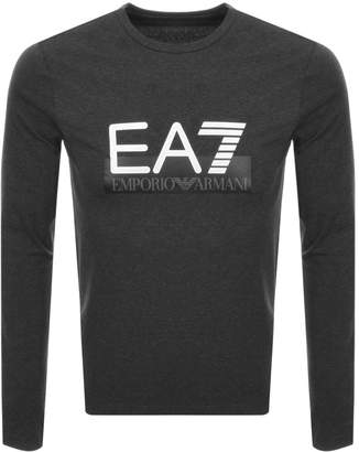 Emporio Armani Ea7 EA7 Long Sleeved Logo T Shirt Grey