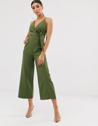 ASOS DESIGN twist front strappy culotte jumpsuit