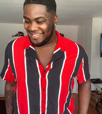 New Look Plus viscose wide stripe short sleeve shirt in red