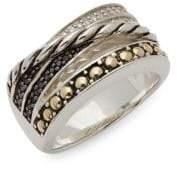 Effy Diamond, Black Diamond, 18K Yellow Gold and Sterling Silver Ring, 0.17 TCW