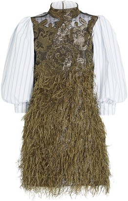 Ganni Layered Feathers Poplin Dress