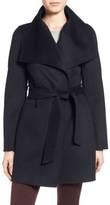 T Tahari Petite Women's Tahari 'Ella' Belted Double Face Wool Blend Wrap Coat