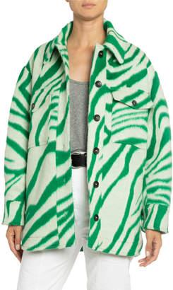Isabel Marant Tiger-Striped Wool Oversized Shirt
