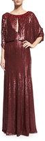 Jenny Packham 3/4-Sleeve Round-Neck Embellished Gown, Merlot