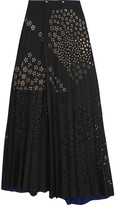 Roland Mouret Cato pleated laser-cut crepe maxi skirt