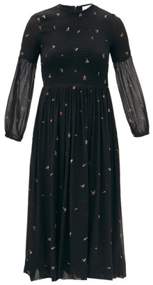 Ganni Smocked Floral-print Georgette Midi Dress - Black
