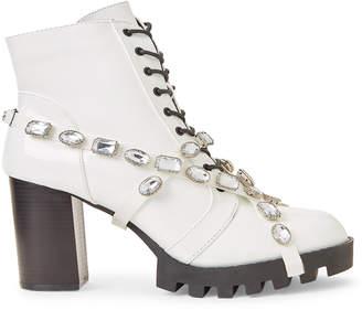 Wild Diva White Glenna Embellished Patent Combat Boots