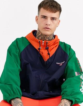 Polo Ralph Lauren Ralph Lauren Sport Capsule overhead hooded colourblock unlined nylon jacket in navy/green/yellow-Multi