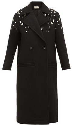Christopher Kane Crystal Embellished Wool Blend Coat - Womens - Black