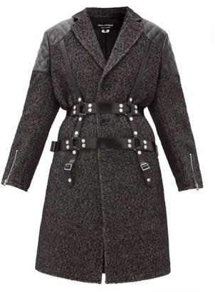 Junya Watanabe Vinyl-strap Patch-pocket Wool-tweed Coat - Black White