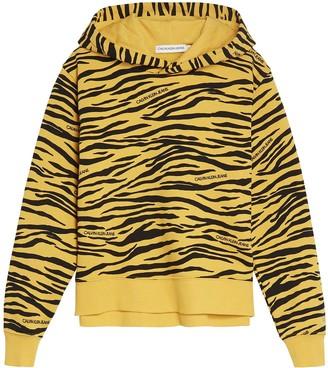 Calvin Klein Jeans Girls Animal Print Hoodie - Yellow