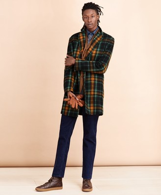 Brooks Brothers Three-Button Plaid Wool Coat