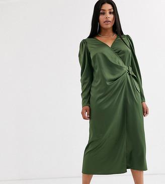 Asos DESIGN Curve satin wrap maxi dress with buckle belt