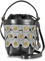 Pierre Hardy Black & White Stripes Leather Penny Bucket Bag