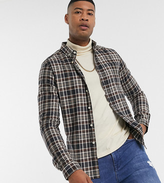 Asos DESIGN Tall slim check shirt in gray and brown