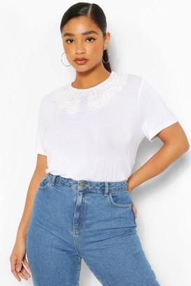 boohoo Plus Collar Detail T-Shirt