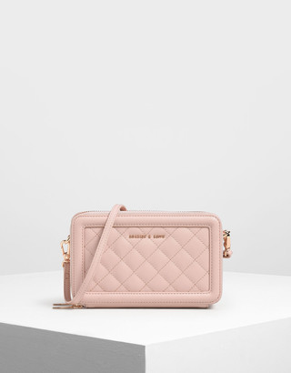 Charles & Keith Quilted Long Zipper Wallet