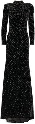 Jovani Crystal-Embellished Velvet Gown