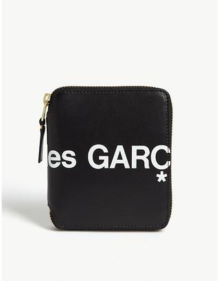 Logo print zip-around leather wallet