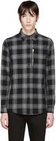 R 13 Black Plaid Zip Shirt