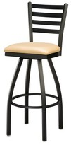 "Regal Swivel Bar & Counter Stool Seat Height: Counter Stool (24"" Seat Height), Finish: Clear, Upholstery: Premier Black"