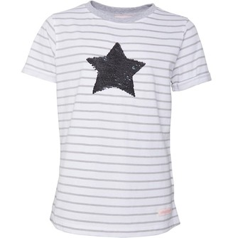 Board Angels Junior Girls Glitter Star T-Shirt Grey/White
