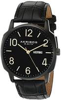 Akribos XXIV Men's AK801BK Quartz Movement Watch with Black Dial and Leather Strap
