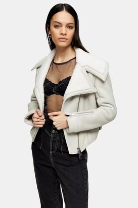 Topshop Womens Idol Grey Asymmetric Sheepskin Biker Jacket - Grey