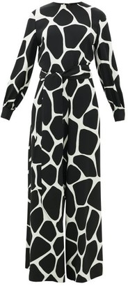 Valentino 1966 Giraffe-print Silk-crepe Jumpsuit - Black White